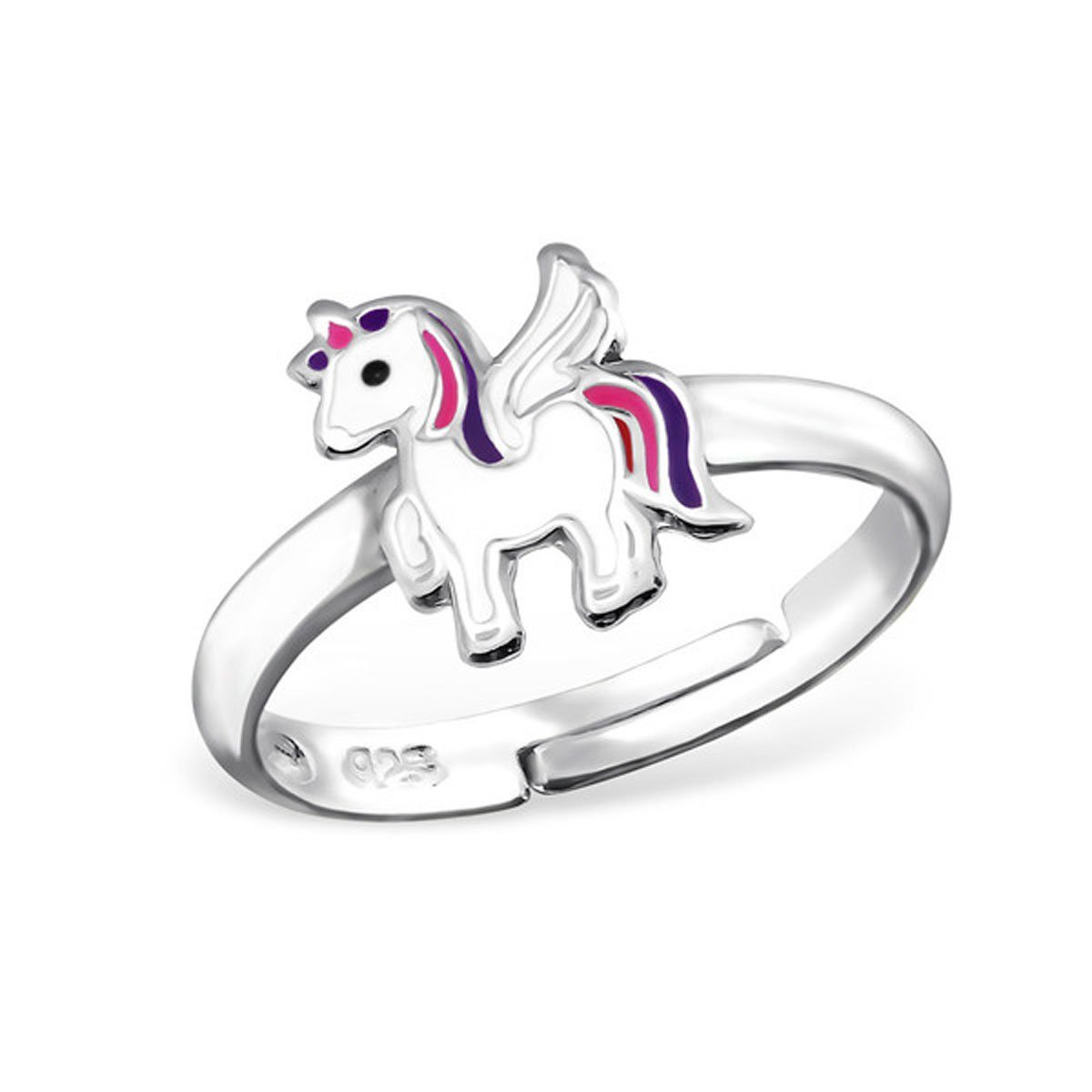 Cute Little Unicorn Ring Girl Jewelry Size Adjustable 3-4 Sterling Silver 925 (E30981)