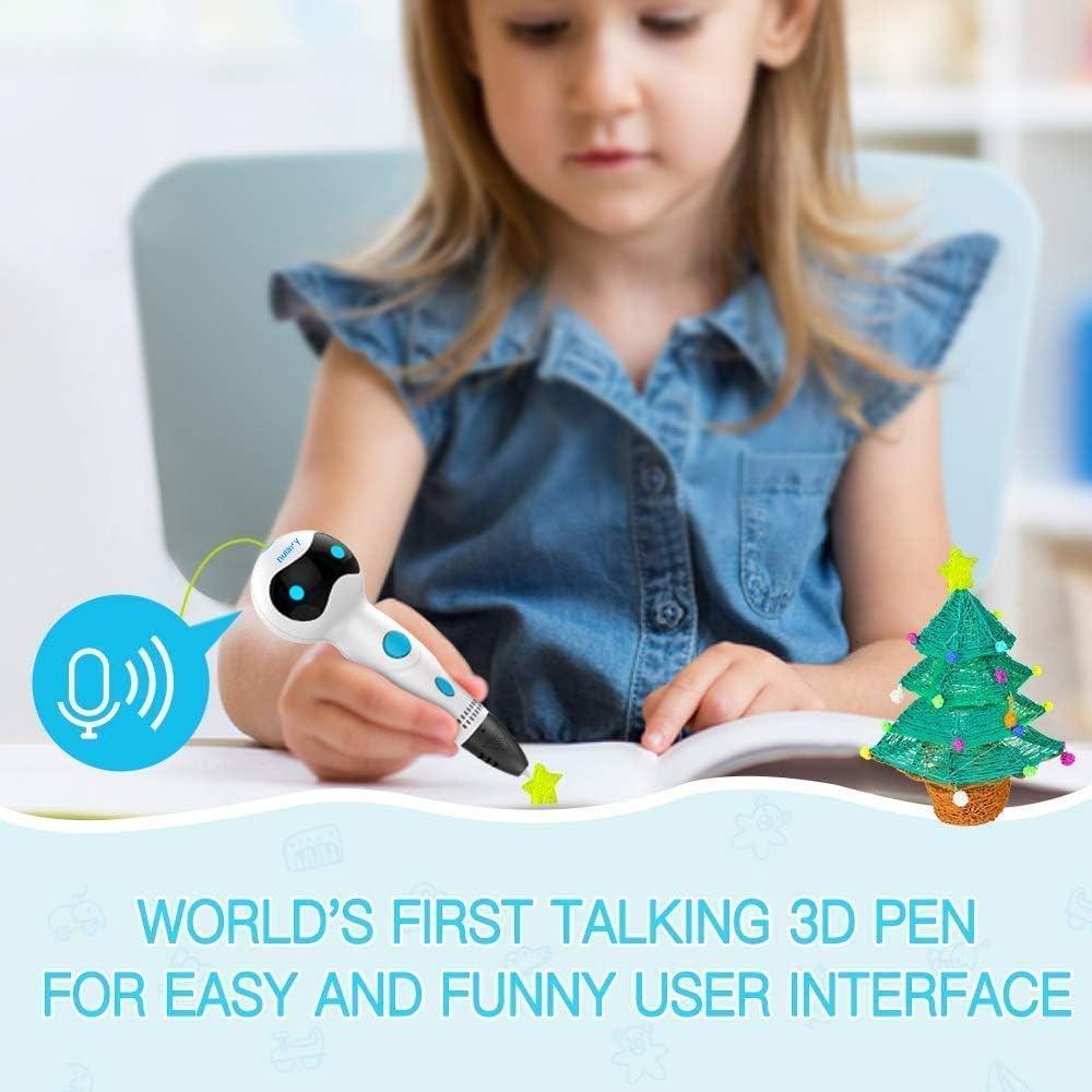 Nulaxy Stylo 3D Stylos d/'Impression 3D avec Invites vocales+Le Filament de PLA Recharge lalimentation Automatique Compatible avec Filaments PLA ABS Stylo 3D pour Enfant et Adulte Cadeau A