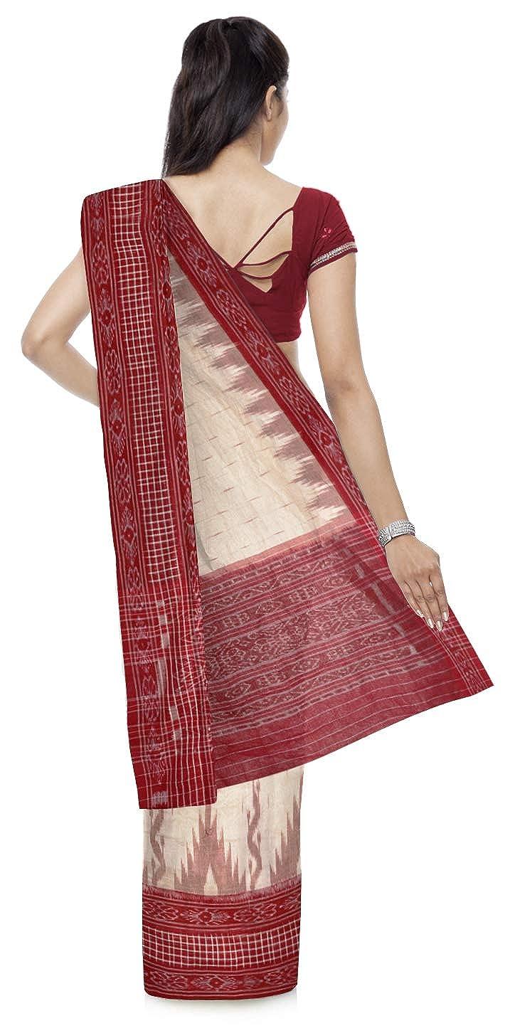 Off-White Color Women's Ikat Cotton Saree