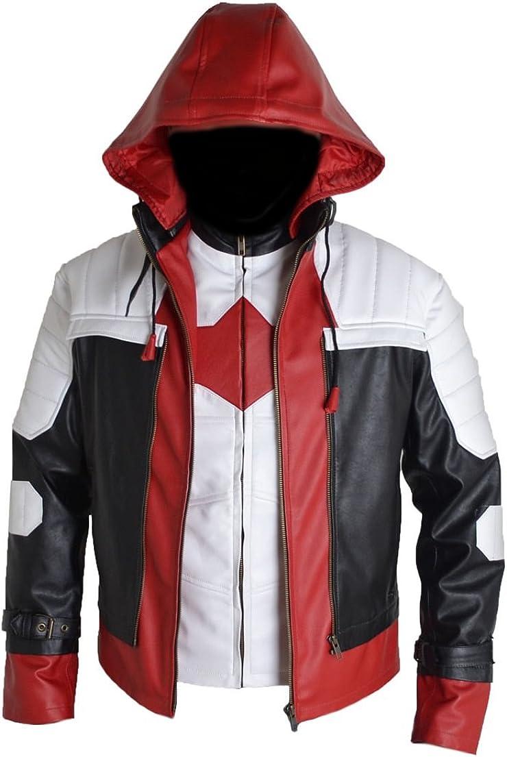 SRHides Men's Fashion Hoodie Leather Jacket 5X-Large Faux White
