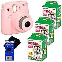 Fujifilm Instax Mini 8 Instant Film Camera (Pink) + Fujifilm Instax Mini Instant Film (60 sheets) + HeroFiber Ultra Gentle Cleaning Cloth