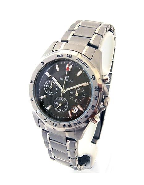 Pascal Hilton Skyline Cronógrafo de titanio original con fecha: Amazon.es: Relojes