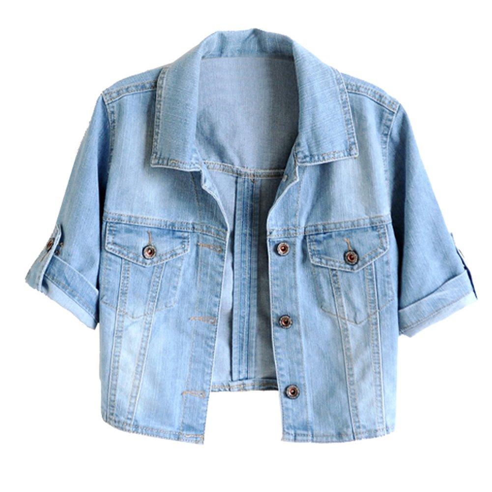 ShengTu Summer Women's Short Sleeve Jean Jacket Denim Coat Shawl (US L)