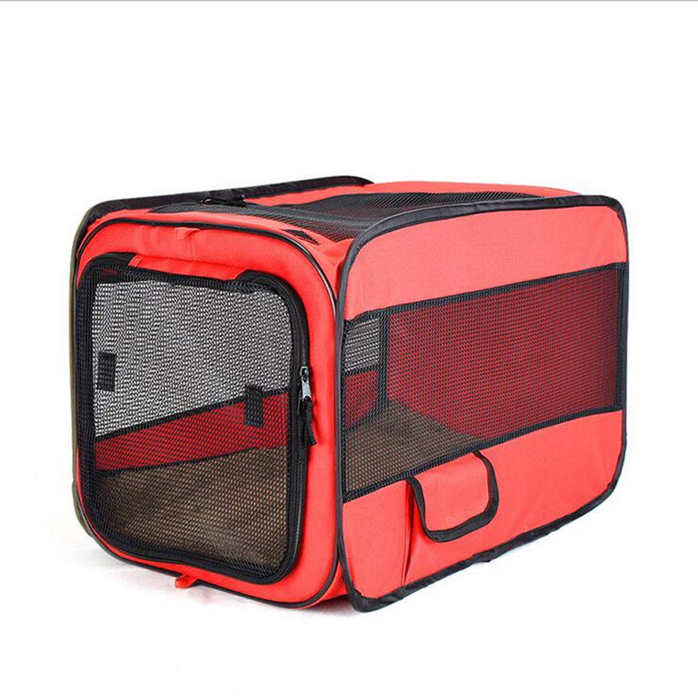 Red Large Red Large ZHENG Pet fence Oxford cloth kennel folding car dog cage,Red,L