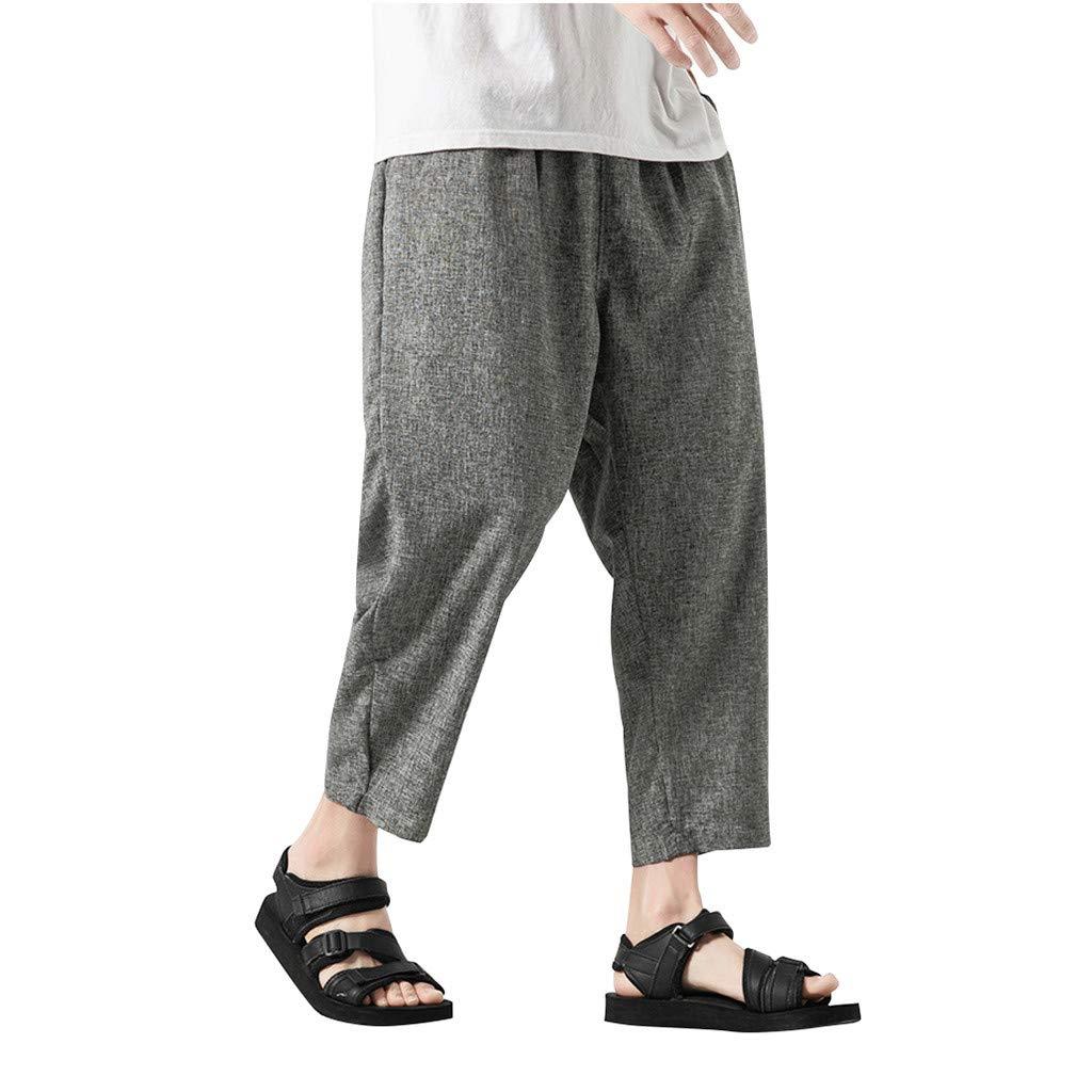 SOWU Mens Cotton Linen Pants Men Vintage Simple Print Pure Color Outdoor Sport Loose Handsome Ankle-Length Pants