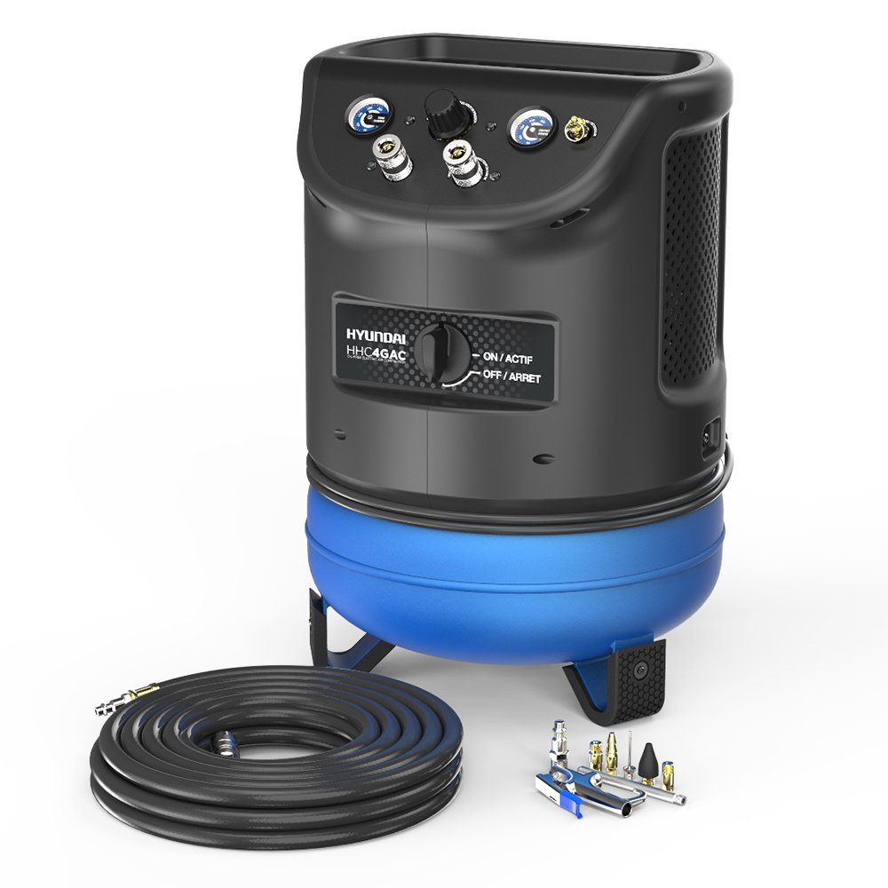 Hyundai HHC4GAC 4 Gal. Vertical Style Electric Air Compressor with 7 Piece Blow Gun Kit and Threaded Hose