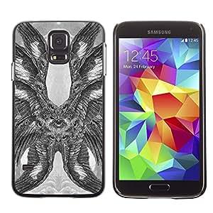 LECELL--Funda protectora / Cubierta / Piel For Samsung Galaxy S5 SM-G900 -- Hawk Owl Eagle Eye Feathers Wings --