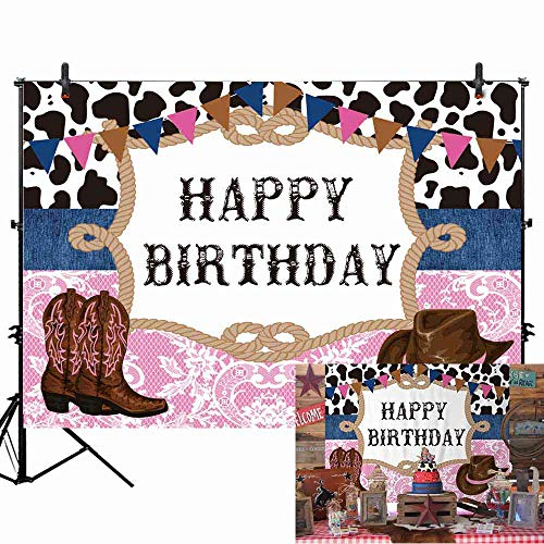Pink Cowgirl Party Supplies (Allenjoy 7X5ft West Cowboy Cowgirl Theme Birthday Party Backdrop Wild West Rodeo Cowboy Photography Background Cow Bunting Kids Party Invitation Decoration Cake Table Banner Photobooth Studio)