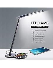 Lámpara Escritorio LED con Cargador Inalámbrico Wireless y Puerto USB | Lámparas de Mesa Mesilla de Noche Flexo Le | Desk Lamp con 4 Luces 5 Brillos 2 Temporizadores | Luz Lectura Protección Ojos