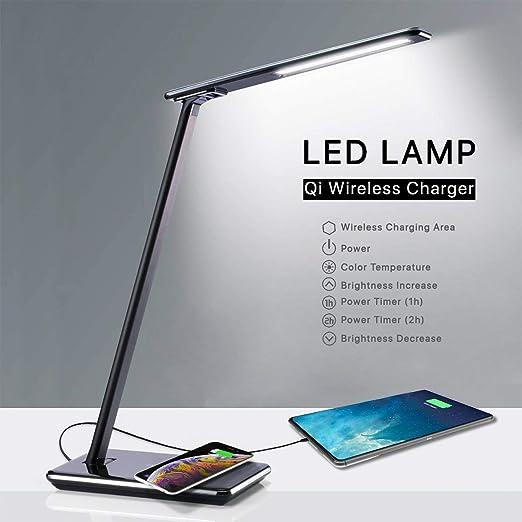 de de Noche Wireless 4 LED Lampara 5 Puerto Mesa Luces Carga LeDesk Escritorio Flexo con USBLamparas de Mesilla y Lamp Brillos Base Inalambrica gbf76yvY