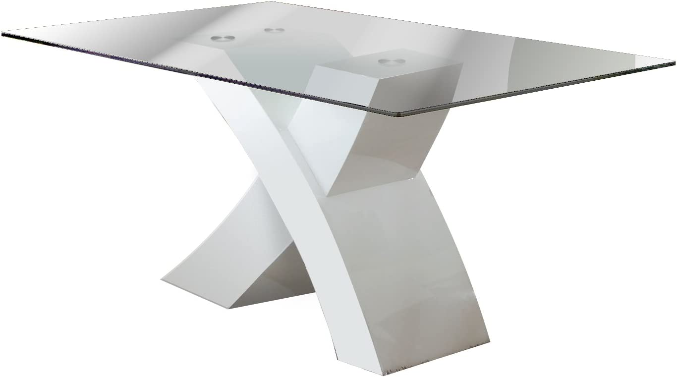 Furniture of America Rivendale Modern Dining Table with 12mm Tempered Glass Top, White Finish