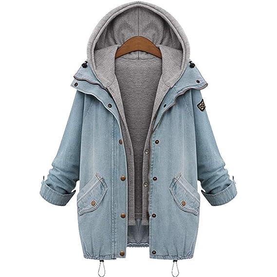 d5bfddb40d2dcd TEBAISE 2018 Herbst Winter Damen Jeansjacke Denim Winterjacke Blazer  Langarmshirt 2 in 1 Kurzjacke Freizeit Oberteil