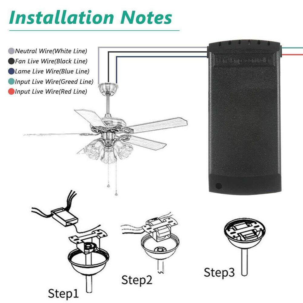 Leoie Wireless 15M Timing Remote Control Receiver Universal Ceiling Fan Lamp Lamp Kit