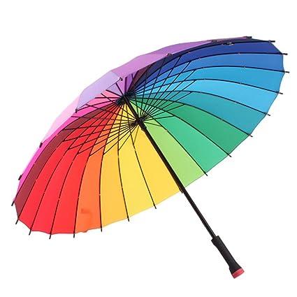 ZHUSAN Paraguas Sombrilla con 24 Costillas De Protección Solar Negocio Extra Grande Mango Largo De Refuerzo