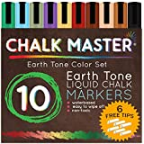 Chalkmaster® Liquid Chalk Markers - Huge 10 Earth Tone Color Liquid Chalk Premium Artist Quality Marker Pen Set + 6 FREE Additional 6 mm Reversible Chisel to Bullet Point Tips 100% Guarantee