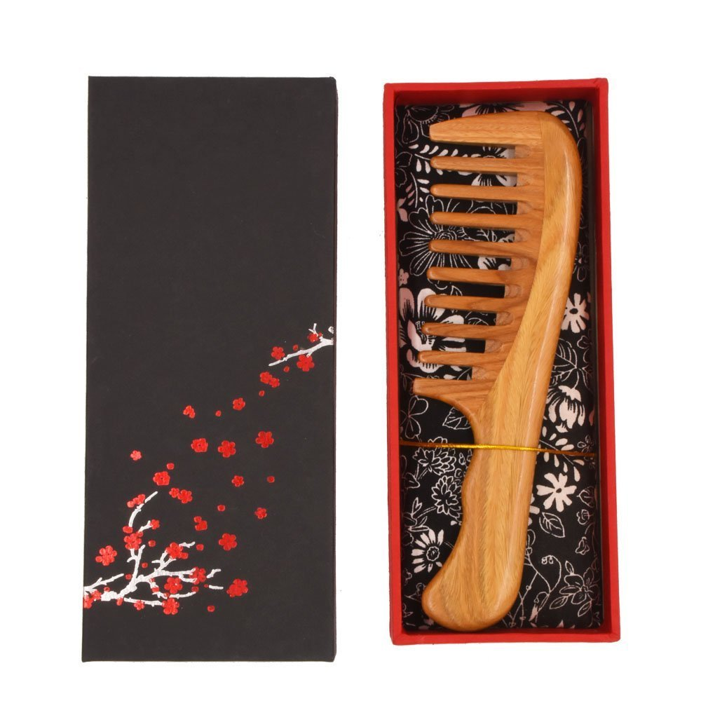 Behomy Wooden Hair Comb for Women, Green Sandalwood Handmade Wide Tooth Comb with Natural Aroma for Detangling Thick Curly Hair with Storage Box