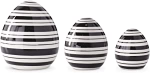 K&K Interiors 20341A Set of 3 Black and White Striped Ceramic Tabletop Eggs, Dolomite