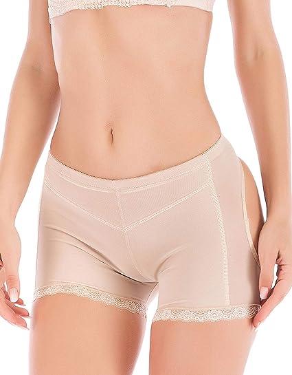 a438a30eed9 FLORATA Women Body Shaper Lace Briefs Butt Lifter Panty Booty Enhancer Hip  Push Up Booster Beige