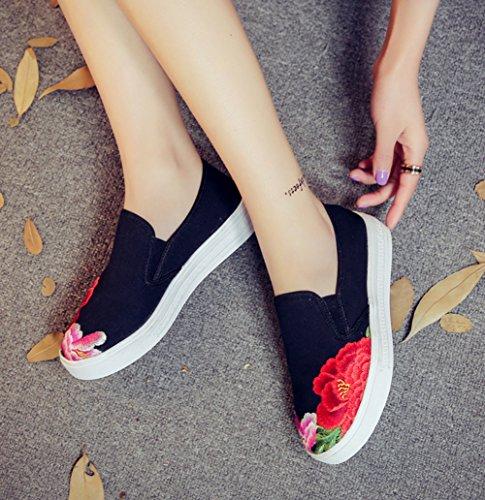 Avacostume Kvinner Kinesisk Maleri Broderi Lerret Dagdriver Uformell Sneaker Svart