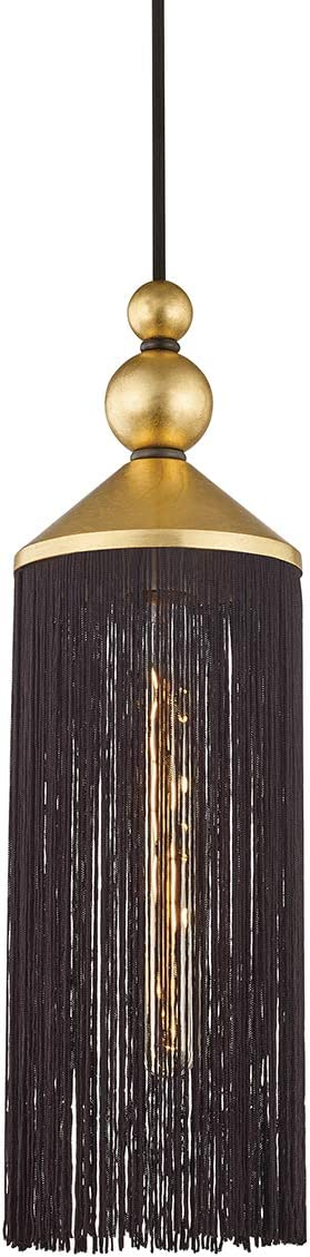 Mitzi H300701-GL BK Scarlett Pendant, 1-Light 75 Watts, Gold Leaf Black