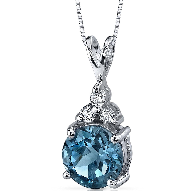 Refined Class 2.25 carats Round Shape Sterling Silver Rhodium Nickel Finish London Blue Topaz Pendant