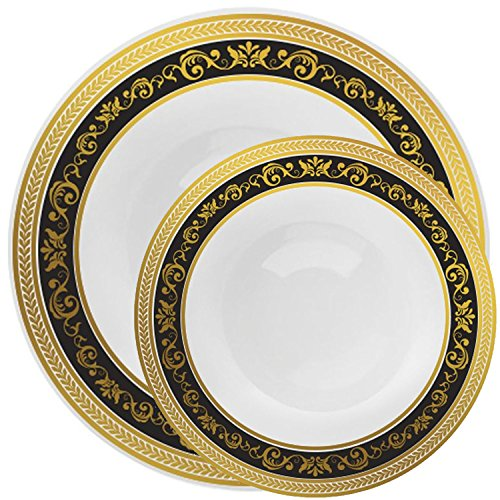 Decorline Royal Collection Combo Pack China Look White, Gold/Black Plastic Plates,(Includes 4 Packs of 10 Plates, 20 10.25'' Dinner Plates and 20 7.25'' Salad Plates), Fancy Disposable Dinnerware