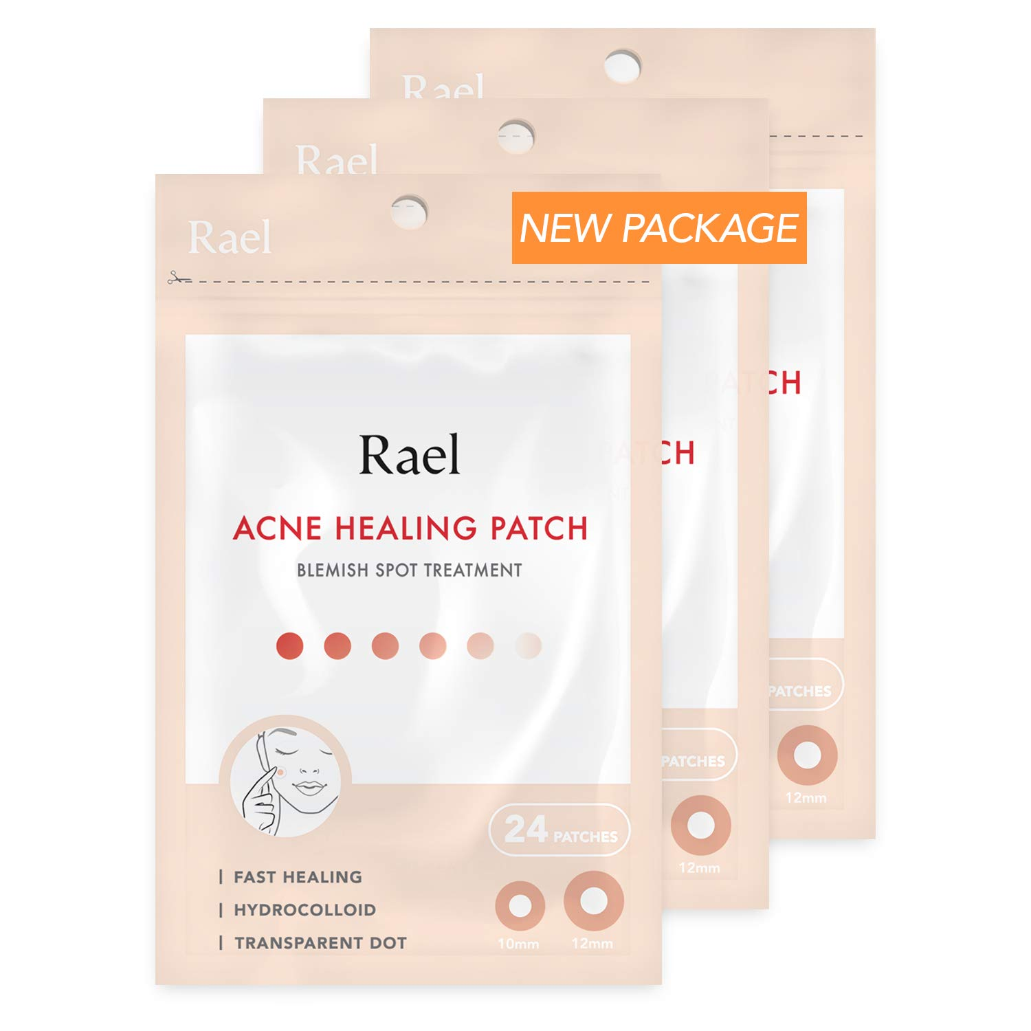 Rael Acne Pimple Healing Patch - Absorbing Cover, Invisible, Blemish Spot, Hydrocolloid, Skin Treatment, Facial Stickers, Two Sizes, Blends in with skin (72 Patches, 3Pack) by Rael