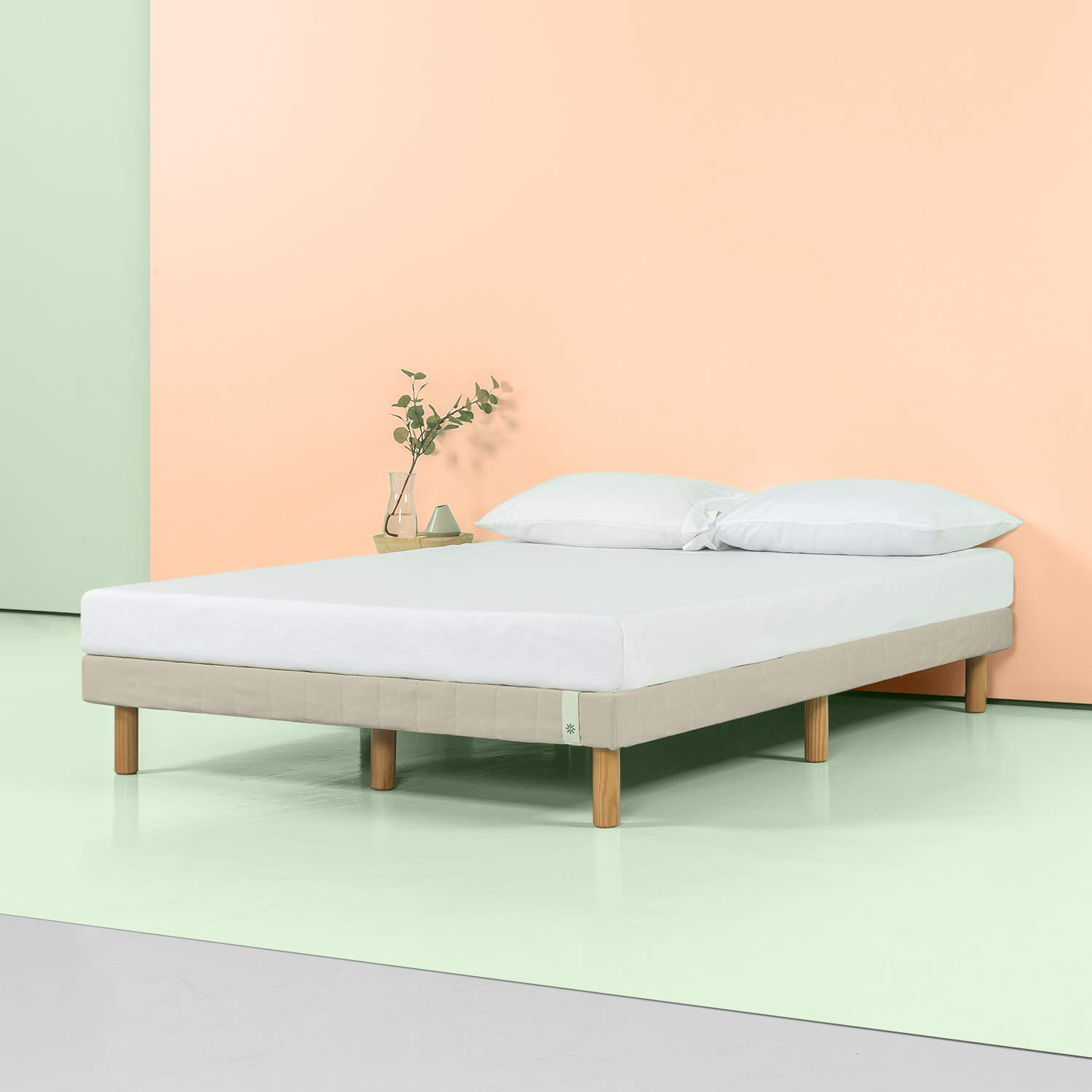 Zinus 11 Inch Quick Snap Standing Mattress Foundation/Low profile Platform Bed/No Box Spring needed, Beige, Queen by Zinus