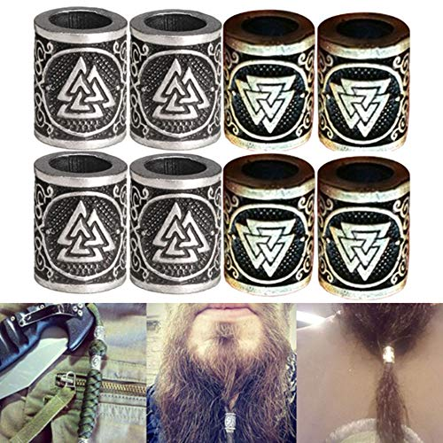 LIKEDA Metal Norse Viking Runes Charms Bead Silver Dreadlock Beard Hair Ring for DIY Findings Bracelets Pendant Necklace Jewelry,8