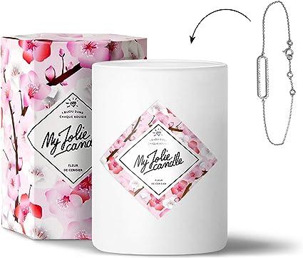 MY JOLIE CANDLE | Bougie parfumée Fleur de Cerisier avec Bijou à  l'intérieur | Bracelet en Argent | 70h Combustion | Cire 100% Naturelle  végétale | ...
