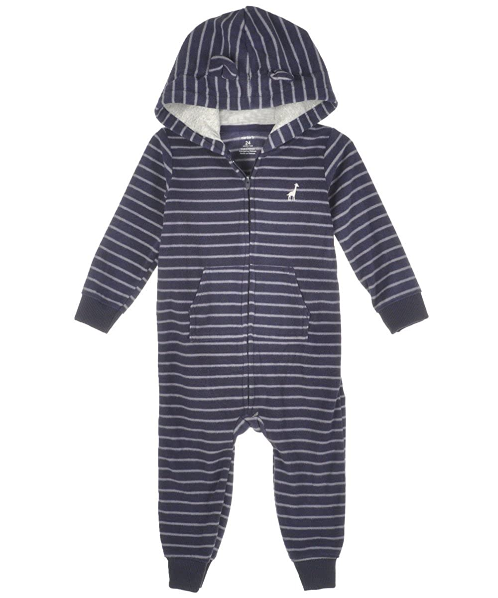Navy Carters Baby Boys Striped Hooded Romper Baby