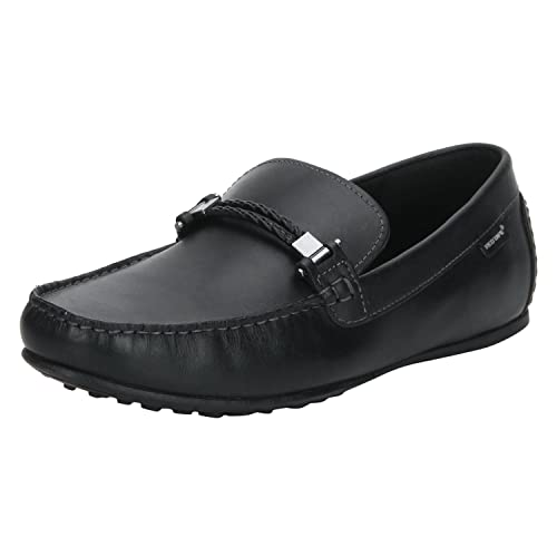 133574dd6be Red Tape Men s Black Leather Loafers-10 UK India (44 EU) (RTS10891 ...