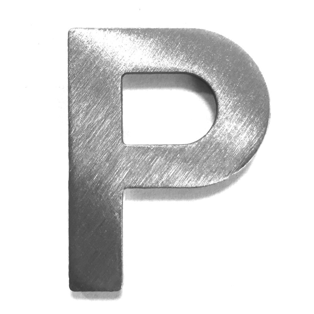 Metal letter P –  Brushed Stainless Steel with 3 M Adhesive –  4 cm Hö he dieHolding