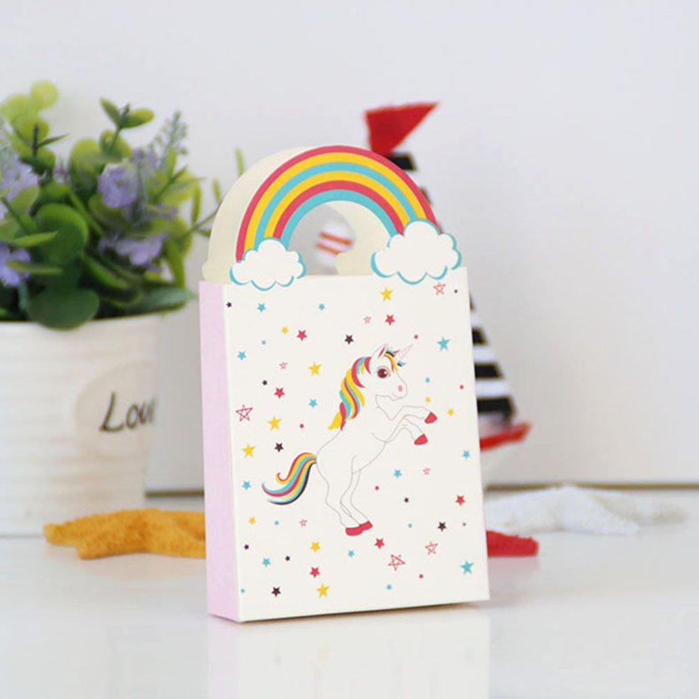 NUOLUX 24Pcs unicornio Las bolsas de papel con el arco iris manejan las bolsas del caramelo del regalo del partido: Amazon.es: Juguetes y juegos
