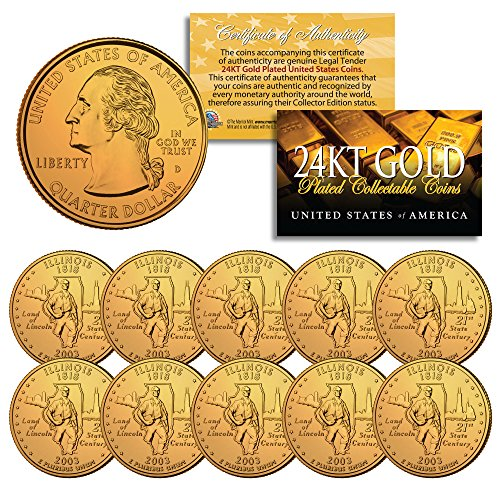 2003 Illinois State Quarters U.S. Mint BU Coins 24K GOLD PLATED (LOT of 10) ()
