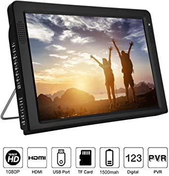 Richer-R TV Portátil,12.1 Inch Televisor Digital,TFT-LED HDTV Recargable,Televisión de Color por Cable para Interior/Exterior.Apoyo USB/Tarjeta TF/SD: Amazon.es: Electrónica