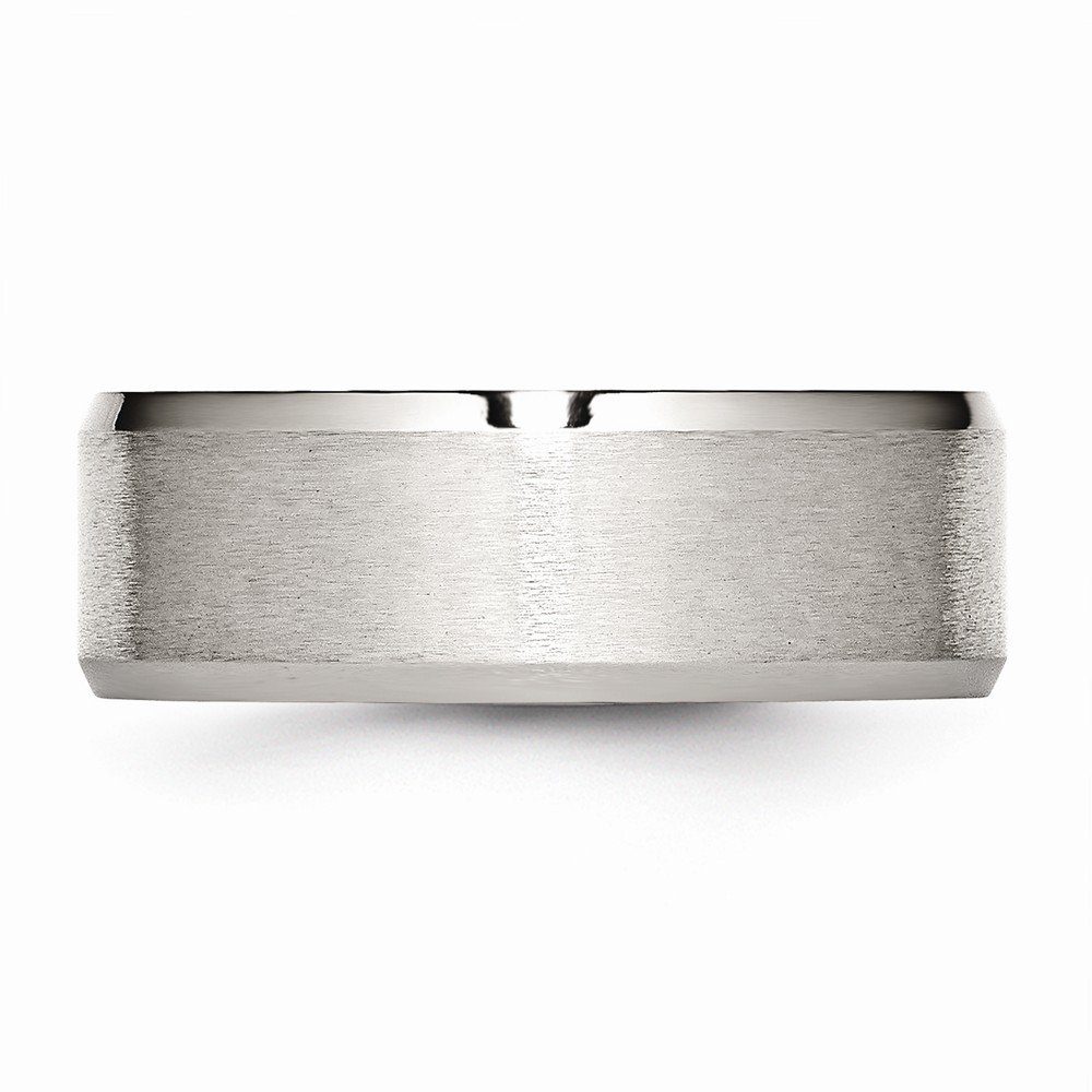 Wedding Bands Classic Bands Flat Bands w//Edge Stainless Steel Flat Beveled Edge 8mm Brushed and Polished Band Size 6