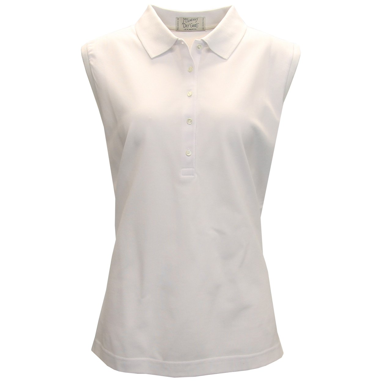 McIlhenny Women's Sleeveless Solid Pique Polo Golf Shirt, Large White
