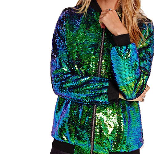 (ONIEZZFOIR Rainbow Sparkly Sequin Loose Cover Up Long Leeve Open Front Cardigan Coat Dress for Women's Clubwear(FBA) (M, Green Jacket))