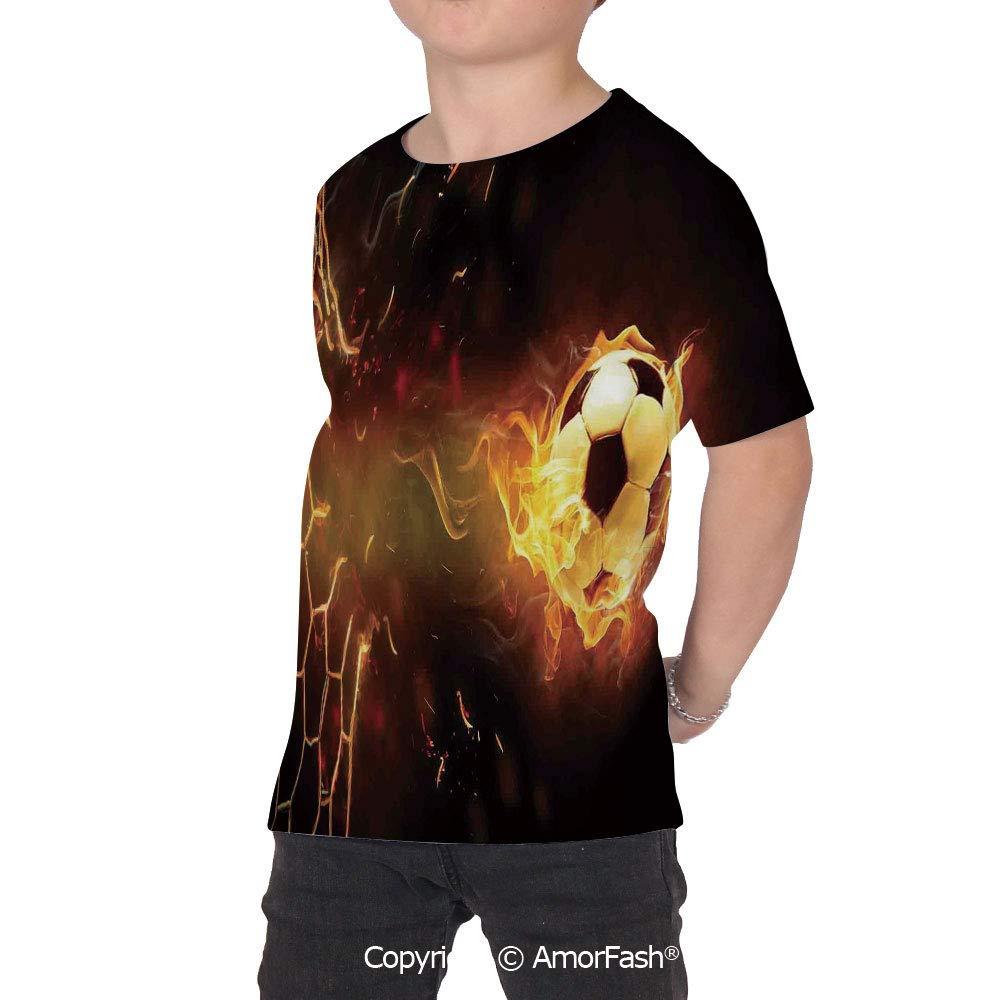 PUTIEN Sports Decor Girl Regular-Fit Short-Sleeve Shirt,Personality Pattern,Burning Foo