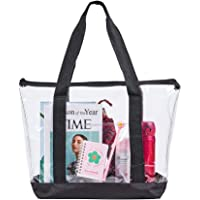 Large Clear Tote Bag, Fashion PVC Shoulder Handbag for Women, Clear Stadium Bag for Security Travel,Shopping,Sports and…