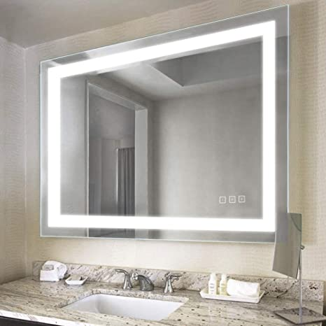 Amazon Com 32 X 40 Inch Led Bathroom Vanity Mirror Wall Mounted Defogger Dimmable Touch Switch Polished Eadge Frameless 5500k Cool White 3000k Warm Cri 90 Vertical Horizontal Kitchen Dining