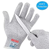 Cut Resistant Gloves, Safety Kitchen Cutting Gloves, Knife Proof Glove for Mandolin Slicing, Wood Carving, Fish Processing and Meat Cutting, EN388 Certified Food Grade Level 5 Protection (Large)