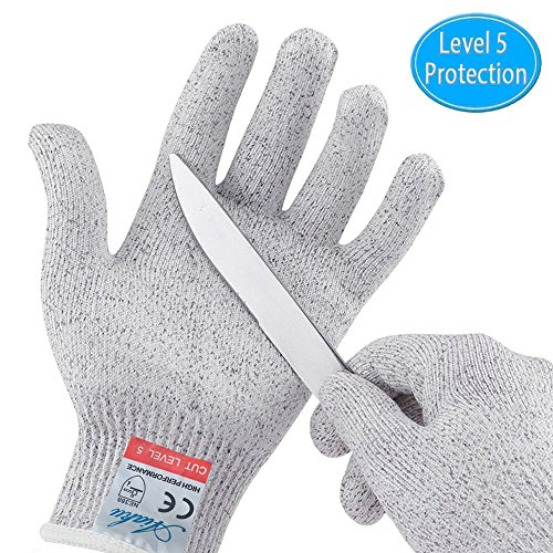 Cut Resistant Gloves, Safety Kitchen Cutting Gloves, Knife Proof Glove for Mandolin Slicing, Wood Carving, Fish Processing and Meat Cutting, EN388 Certified Food Grade Level 5 Protection (Medium)