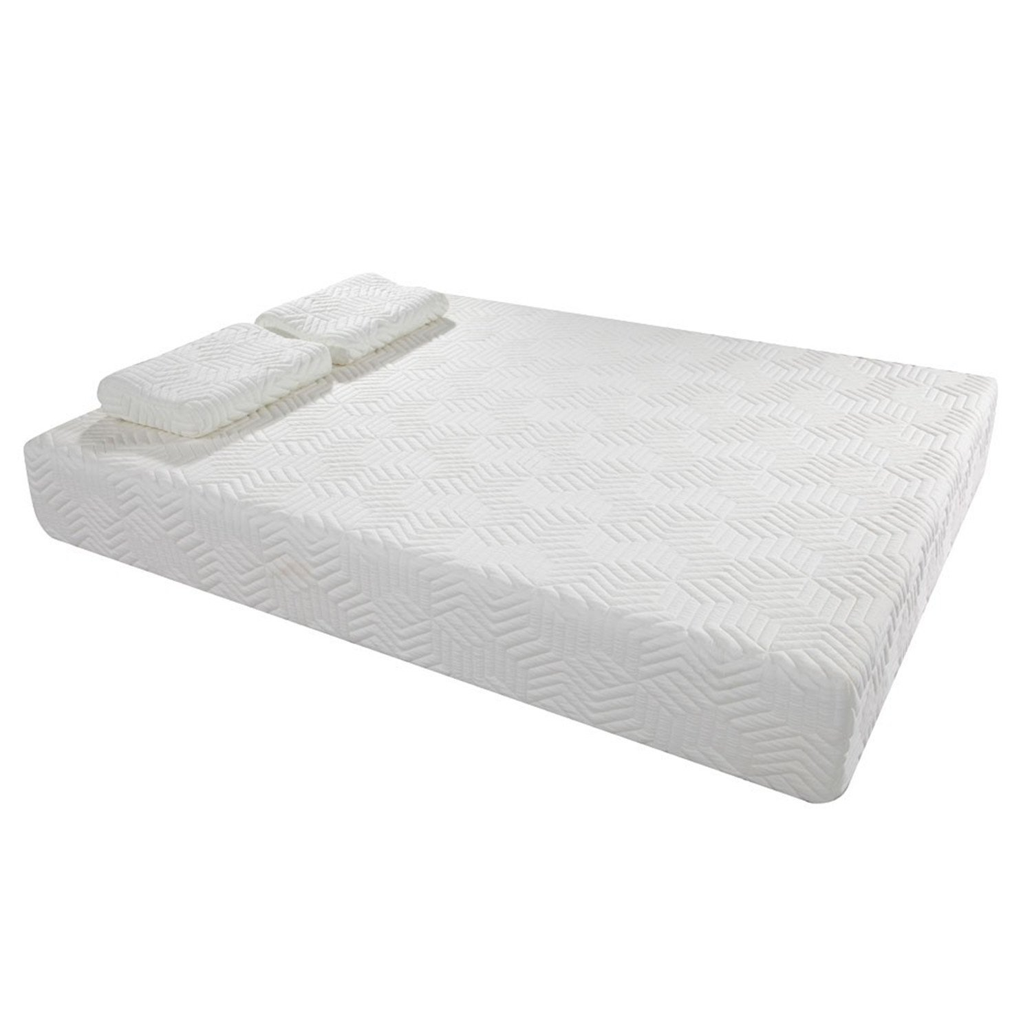 SHUTAO 10'' Two Layers Traditional Firm High Softness Cotton Mattress with 2 Pillows (Queen Size) White