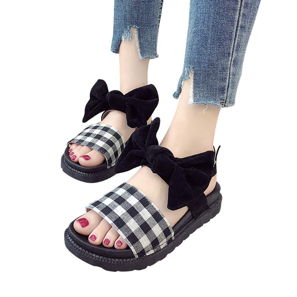 Moonker Leisure Womens Flats Ankle Strap Ladies Wedge Sandals Bow Flatform Sliders Shoes