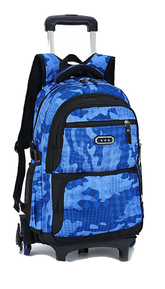 Meetbelify Trolley School Bags Backpack For Boys With Wheels Climbing Stairs,6 wheels,Sky Blue