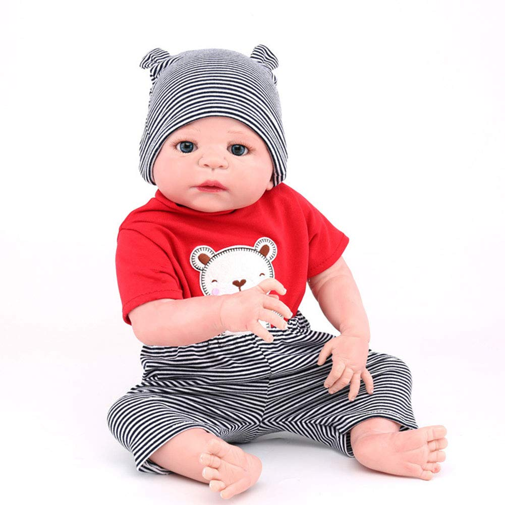 CHENG Rebirth Realistic Baby Dolls Baby 55 cm Neugeborenes Doll Pacifier Cute Little ROT Suit