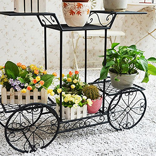 Dazone 6 Tiered Garden Cart Plant Stand w/ 4 Wheeler (Not for Rolling) for Indoors & Outdoors Decoration - Black | Wrought Iron