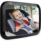 Zacro Baby Car Mirror - Large Fully Adjustable Shatter Proof Baby View Car Mirror Give Clear Views for Rear - Facing Car Seat, Strapped on Back Seat Headrest, Well - Designed for Baby Safety